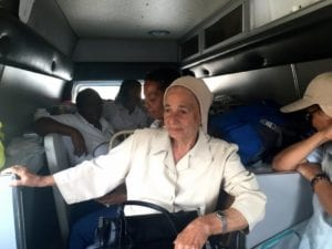 Sr. Concepción Rivera rides in the ambulance with the Medicines for Humanity team in Quisqueya. (GSR photo / Soli Salgago)