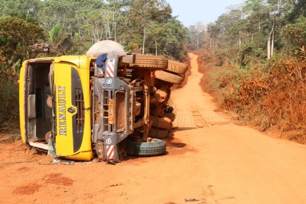 overturned truck in Cameroon