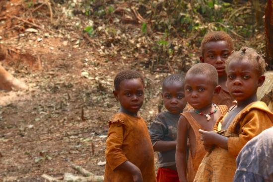 malnurished children in forest