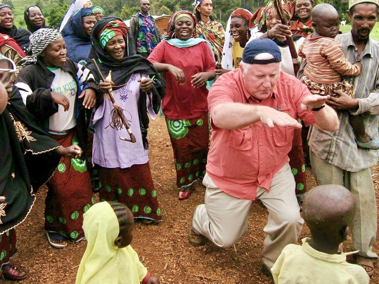Tim with a crowd in Cameroon