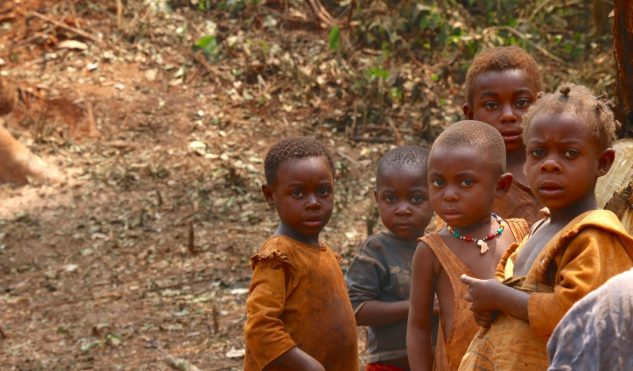 Cameroon kids in a forest